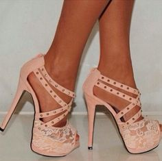 strappy lace pale pink heels high heel - GET THIS LOOK NOW ONLY AT www.heels.com/?utm_medium=affiliate_campaign=affiliate_source=aff_id=cj