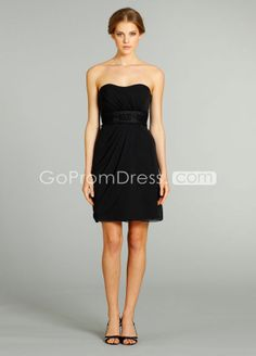 In coral. A line Chiffon backless with sash Short black Bridesmaid Dress - gopromdres.com