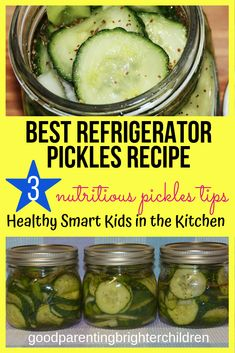 The best refrigerator pickles. Quick & easy for kids to make & nutritious. Kids will learn about all things fermented in the kitchen. Use the cucumbers from your garden for a multi-sensory experience. Refrigerator Pickle Recipes, Best Refrigerator, Kids Picnic, Picnic Ideas, Cucumber Benefits, Essential Oils For Kids, Multi Sensory, Sensory Experience, Health Eating