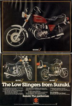 """A 1979 advertisement featuring a line up of Suzuki motorcycles. Show in a black background are photos of the GS-1000, GS-750, and GS-550 models """"The Low Slingers from Suzuki"""" -An original vintage 1979"""