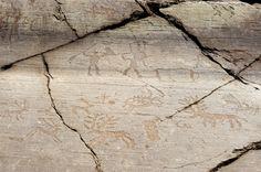 Tallas de piedra en Val Camonica, uno de los más frescos sitios antiguos en Italia
