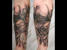 Evil Skull Sleeve Tattoos   Tattoo Designs Sleeve Ideas Skull sleeve tattoos designs