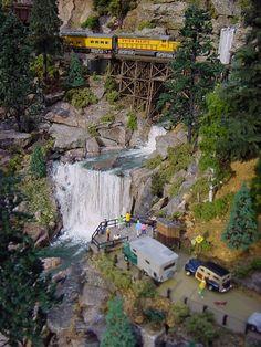 N-Scale waterfall scene: