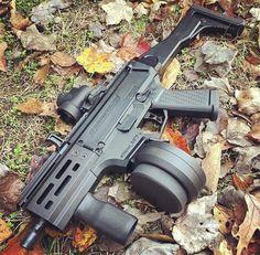 CZ Scorpion w drum Assault Weapon, Assault Rifle, Weapons Guns, Guns And Ammo, Zombie Weapons, Rifles, 9mm Pistol, Submachine Gun, Tactical Gear