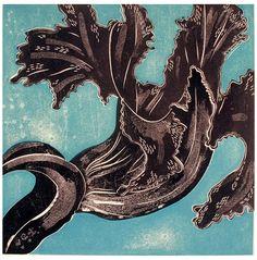 Ralph Kiggell, Black Flower 1, 2000, woodcut