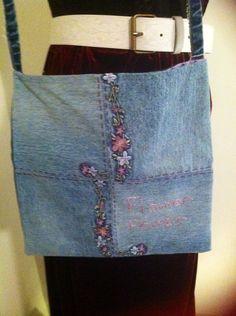 Gypsy Hippie Boho Recycled Blue Jean Purse