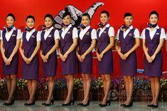 World stewardess Crews: The beautiful stewardesses in Xiamen Airlines Xiamen, Cabin Crew, Flight Attendant, Hosiery, Formal Dresses, Lady, How To Wear, Beautiful, Fashion