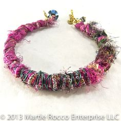 Silk Magenta fabric and yarn wire wrapped bangle bracelet - product images  of