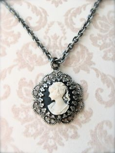 Antique Silver Cameo Necklace by sweetsimple on Etsy