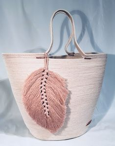 crochet hand bag with macrame decor. pastel color.