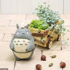 Wagon Planter, Plants Are Friends, Ghibli Movies, Flower Pots, Flowers, Idee Diy, My Neighbor Totoro, Studio Ghibli, Clay Art