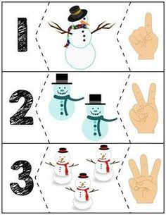 Teach counting skills with these snowmen! Great for teaching counting skills and number recognition for Quick prep and great for math centers!
