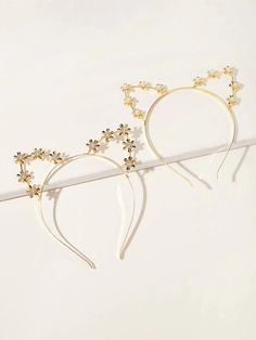 2pcs Cat Ear Decor Metal Hair Hoop | SHEIN South Africa Metal Hair, Hair Hoops, Cat Ears, Free Gifts, South Africa, Bangles, Hair Accessories, Jewelry, Decor