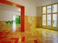 Colorful, interesting floor tiles.