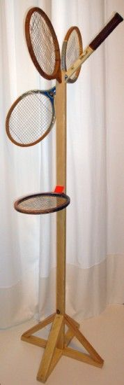 """""""Mr & Mlle"""", 2 french designers from Nantes made this coat hanger out of old wooden tennis rackets."""
