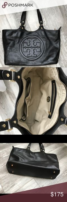 Authentic BLack leather Tory burch-ONE day sell! In great condition! Gently used.. Smoke free home...17x18x4...large lots of room... great price for a great bag Tory Burch Bags Shoulder Bags