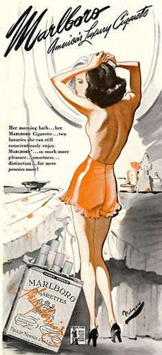 "Marlboro Cigarettes 1944 (why is she wearing high heel shoes during her ""morning bath""?)"
