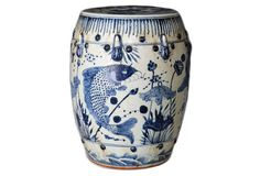 Fish-Motif Garden Stool, Navy/White