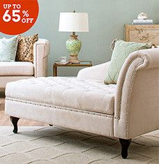 This selection of upholstered furniture and other add-ons will help you create a living room that you're eager to entertain in. Neutral-hued arm chairs and patterned pillows add a pop of personality to your space, while stylish chaise lounges, storage ottomans, and printed rugs are classic solutions for traditional tastes.