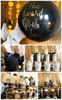 Glam black and gold Oscar party! See more party planning ideas at CatchMyParty.com!