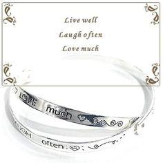 Silvertone Engraved Live, Laugh, Love Inspirational Message Bangle Bracelet