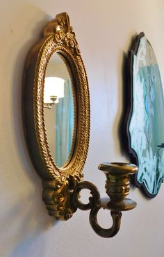 Vintage Home Interiors Gold Oval Mirrored Wall by RadiogirlCarolyn