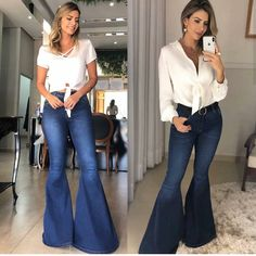 I like both of these tops, and jeans Rodeo Outfits, Jean Outfits, Girl Outfits, Cute Outfits, Fashion Outfits, Flare Jeans Outfit, Country Girls Outfits, Western Wear, Western Chic