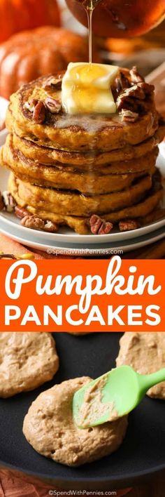 You Have Meals Poisoning More Normally Than You're Thinking That Pumpkin Pancakes Are Perfectly Spiced With Pumpkin Puree, Warm Fall Spices And A Touch Of Brown Sugar. Breakfast Items, Breakfast Dishes, Best Breakfast, Breakfast Recipes, Southern Breakfast, Pancake Recipes, Fall Dessert Recipes, Fall Recipes, Holiday Recipes