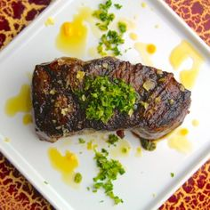 Step up your grilled steak game with a Wagyu New York strip topped with gremolata, home-made chipotle olive oil, and citrus salt.