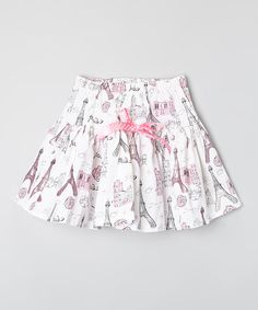 $19.99! Love this Pink & White Eiffel Tower Ribbon Skirt - Infant, Toddler & Girls on #zulily! #zulilyfinds