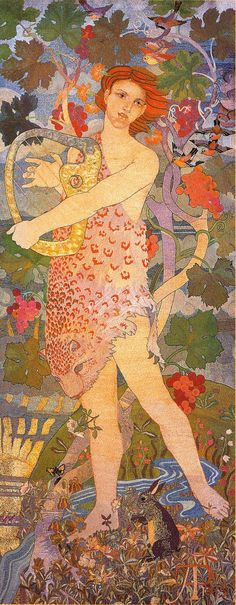 'The Entrance'. 180 x 70 cm. Silk and gold thread embroidered on linen. 1895