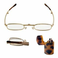 777afe0ffb9 Super-Compact Folding Reading Glasses - Hard Pocket Case - 1.00X to 3.25X -  Gold Metal Frame Power  3.25 Diopter by AP.  7.98