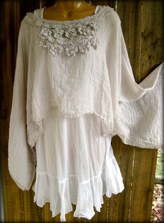 Gauze Lace top ~ Paris Rags. Could make lots of things out of gauze    & add embelishments - upcycled necklaces, bits of lace etc to a plain easy top like this.