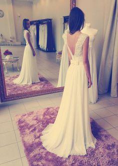 Opened back or long sleeves wedding dress by ORELLIweddingdresses, $899.00