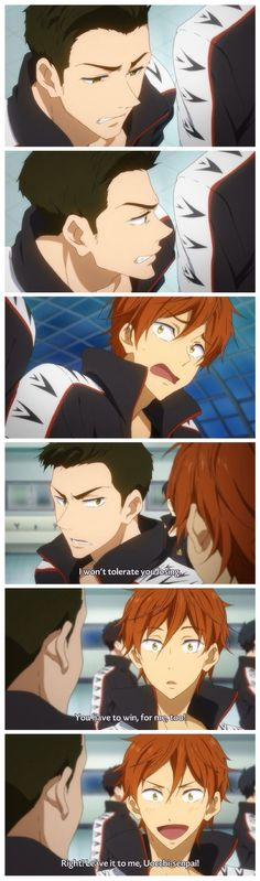 Free! ES ~~ After being replaced on the relay team, Uozumi shows why the fans love him :: Uozumi and Momotarou