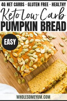 Low Carb Sugar-Free Pumpkin Bread Recipe (Paleo) - This moist, keto low carb pumpkin bread is made with almond flour & coconut flour. And, this paleo pumpkin bread recipe is EASY with prep! Sugar-free and gluten-free, but tastes just like the real thing. Quick Bread Recipes, Low Carb Recipes, Real Food Recipes, Dessert Recipes, Dessert Ideas, Paleo Recipes, Cupcake Ideas, Simple Recipes, Cookie Ideas