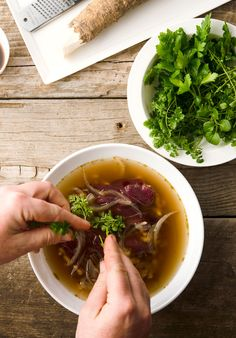 Nordic goose soup, made in the style of Vietnamese pho, with lots of fresh herbs, horseradish, and a rich, fragrant broth. Recipe on Hunter Angler Gardener Cook: http://honest-food.net/