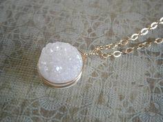 Druzy Necklace Pendant Necklace Druzy Jewelry Gold by LisaDJewelry, $30.00