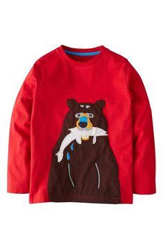 Cute little guy! Mini Boden Bear Shirt for boys.