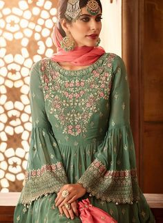 Online Shopping of Wedding Function Wear Sea Green Embroidered Sharara Suit In Georgette from SareesBazaar, leading online ethnic clothing store offering latest collection of sarees, salwar suits, lehengas & kurtis Pakistani Fashion Party Wear, Pakistani Dress Design, Pakistani Outfits, Indian Fashion, Islamic Fashion, Salwar Kameez, Sharara Suit, Pakistani Sharara, Anarkali Suits