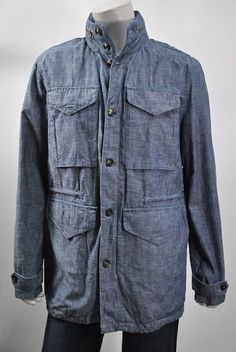 J. Press York Street Button/Zip Front Jacket MEN'S NWT sz L Chambray Hooded $525 #JPressYorkStreet #BasicJacket