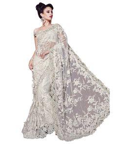 Sari Mariage Nooriya Blanc cassé en tulle et dentelle #NarkisFashion #Wedding #Bollywood