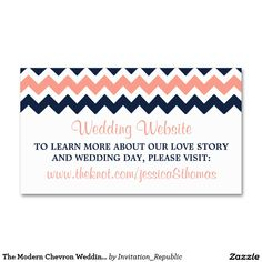 The Modern Chevron Wedding Collection- Pink & Navy Double-Sided Standard Business Cards (Pack Of 100)