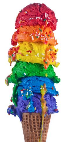 bright tower of ice-cream scoops  colors of the rainbow