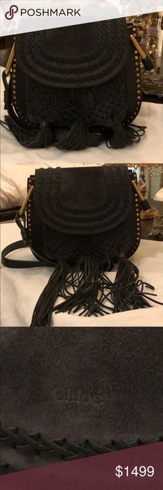 100% Authentic Chloé Hudson Crossbody bag 100% authentic limited edition Chloé Hudson crossbody bag in black with 3 tassels bag. Includes shopping bag, duster bag and authentication card. No trades. Chloe Bags Crossbody Bags