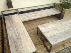 sun loungers/bench with a table made from scaffold boards