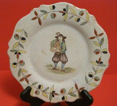 PB Malicorne Faience Quimper Scalloped Plate C 1899 1900 Male Playing Bagpipe 2 | eBay