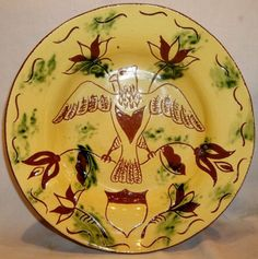 1982-Breininger-Redware-Sgraffito-Federal-Eagle-17-Shield-Tulips-11-Plate-Bowl