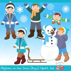 Playtime in the Snow (Boys) Clipart Set
