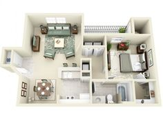One bedroom. Maybe add the office area in place of the walk in closet.